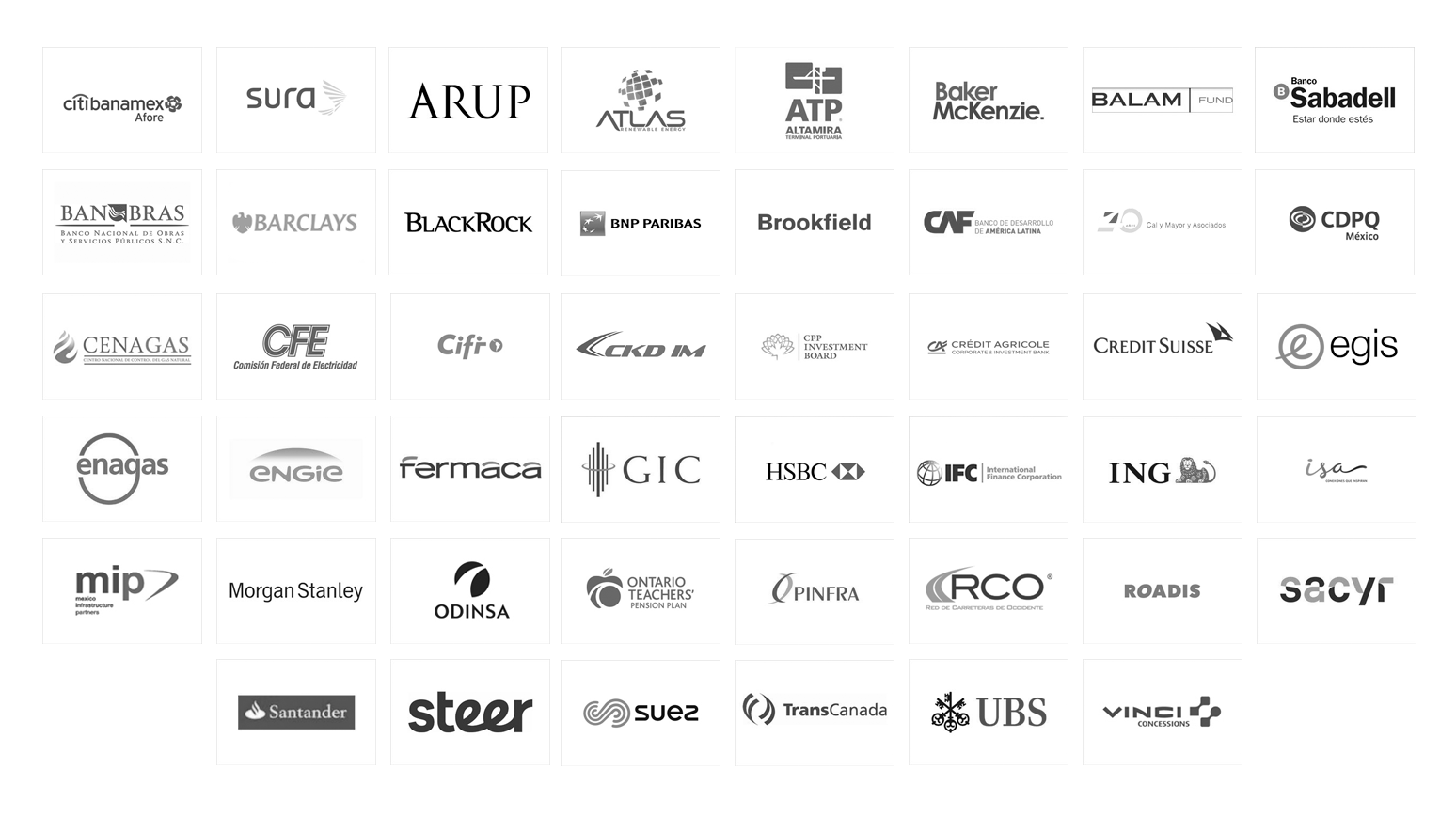 Some companies that participated in the Infra Mexico GRI