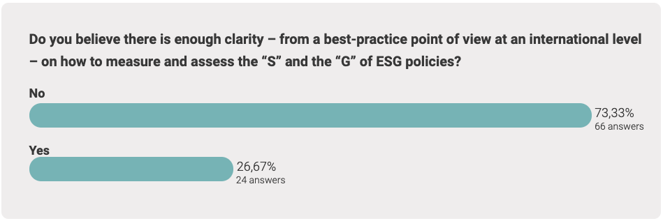 """Do you believe there is enough clarity – from a best-practice point of view at an international level – on how to measure and assess the """"S"""" and the """"G"""" of ESG policies?"""